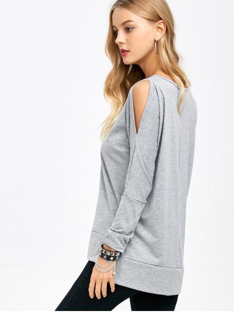 outfits Side Slit Cold Shoulder T-Shirt - GRAY M Mobile
