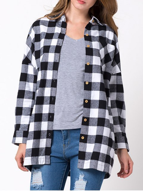 fancy Long Checked Shirt - WHITE AND BLACK S Mobile