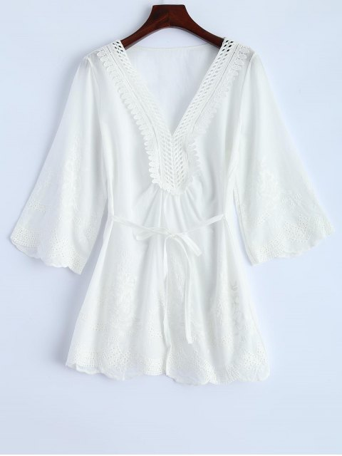 outfits Hollow Out Self-Tie Embroidered Blouse - WHITE L Mobile