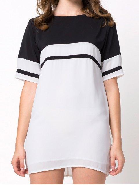 latest Color Block Casual Dress - WHITE 2XL Mobile