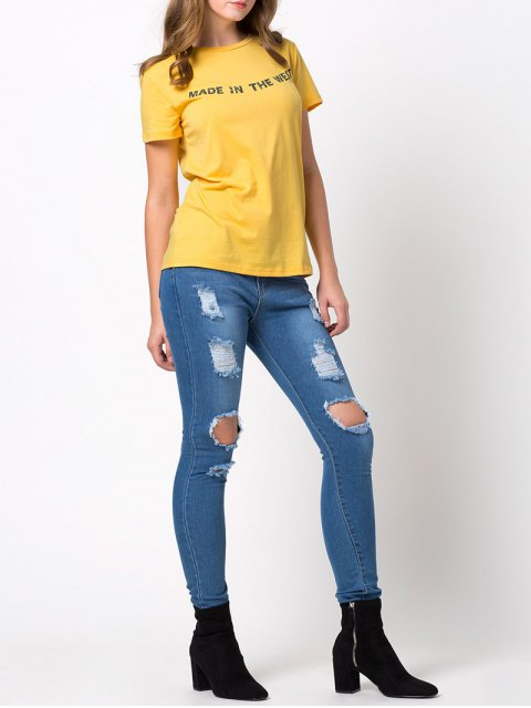 outfit Fitting Letter T-Shirt - YELLOW L Mobile