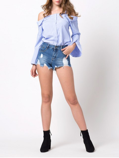 new Flare Sleeve Cold Shoulder Blouse - BLUE AND WHITE S Mobile