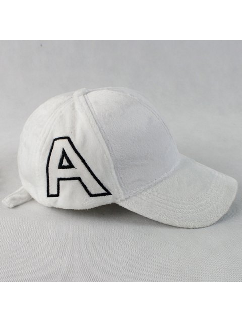 trendy Warm Letter A Embroidery Plush Baseball Hat -   Mobile