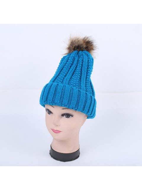 womens Winter Stripy Flanging Pom Hat - LAKE BLUE  Mobile