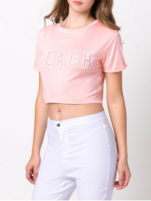 chic Letter Cropped T-Shirt - PINK M Mobile