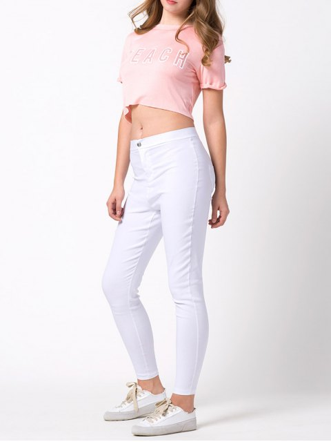 latest Letter Cropped T-Shirt - PINK 2XL Mobile