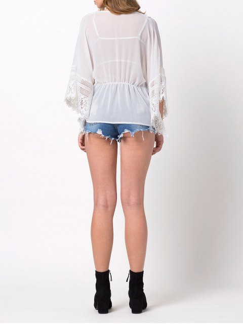 trendy String Lace Insert Blouse - WHITE XS Mobile