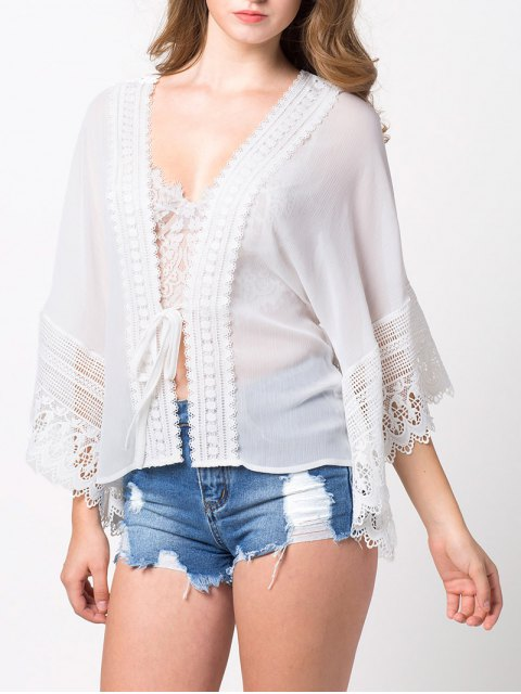 shops String Lace Insert Blouse - WHITE M Mobile