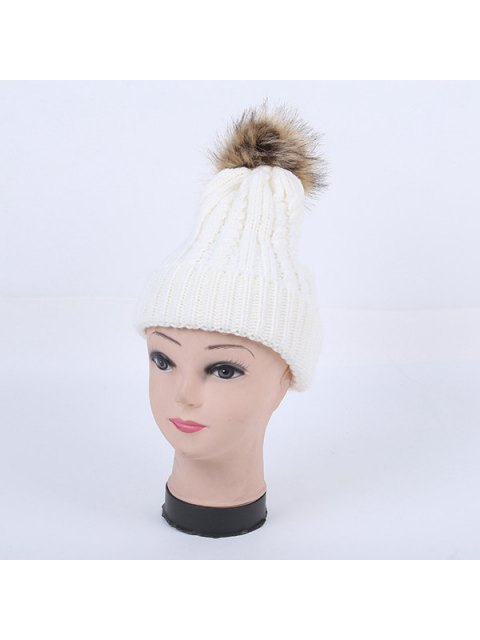 affordable Winter Cable Knit Pom Hat - WHITE  Mobile
