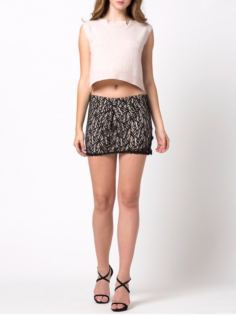 shops Lace Panel Bodycon Mini Skirt - BLACK M Mobile