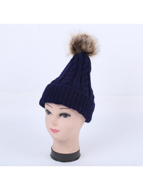 online Winter Stripy Cable Knit Pom Hat - CADETBLUE  Mobile