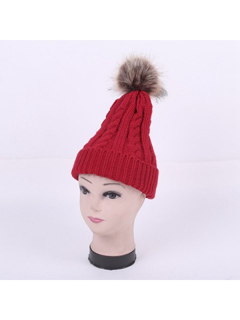 shop Winter Stripy Cable Knit Pom Hat - RED  Mobile