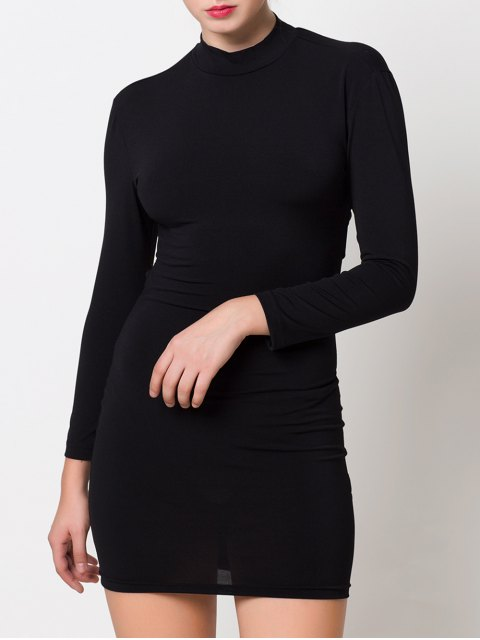 fashion High Collar Hollow Out Bodycon Dress - BLACK 2XL Mobile