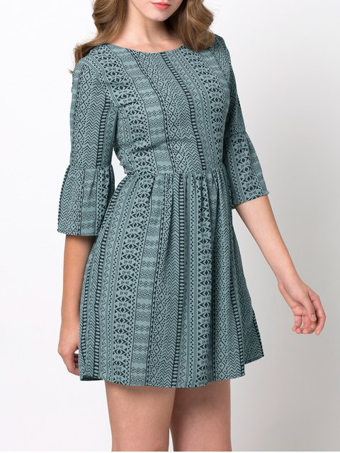 lady Flare Sleeve Geometric Mini Dress - GREEN XL Mobile