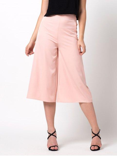 women Casual Wide Leg Capri Pants - PINK 2XL Mobile