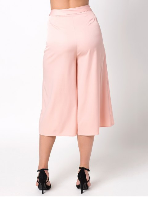 lady Casual Wide Leg Capri Pants - PINK M Mobile