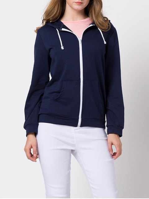 fashion String Zip-Up Hoodie - DEEP BLUE 2XL Mobile
