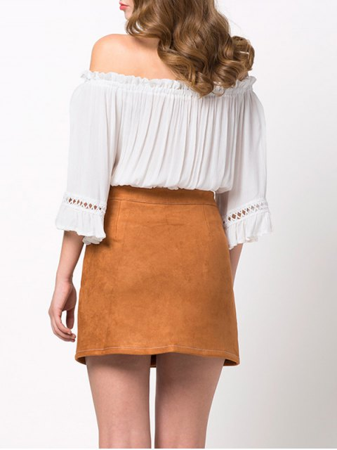 affordable Loose Cropped Off the Shoulder Blouse - WHITE XS Mobile