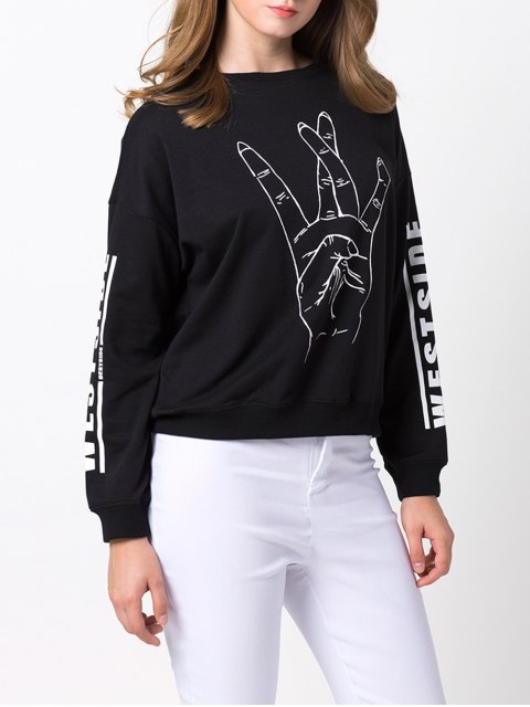 women's Streetwear Printed Sweatshirt - BLACK M Mobile