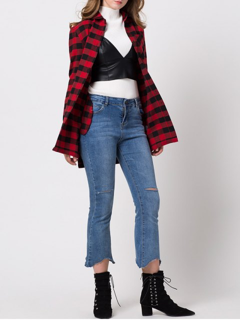 ladies Checked High-Low Shirt - RED S Mobile