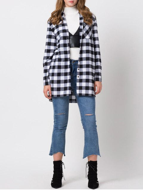 online Checked High-Low Shirt - WHITE AND BLACK XL Mobile