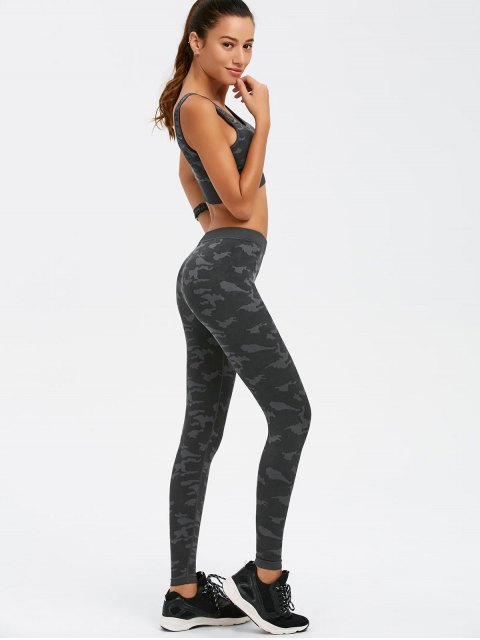outfits Camouflage Bra and Bodycon Yoga Leggings - CAMOUFLAGE L Mobile