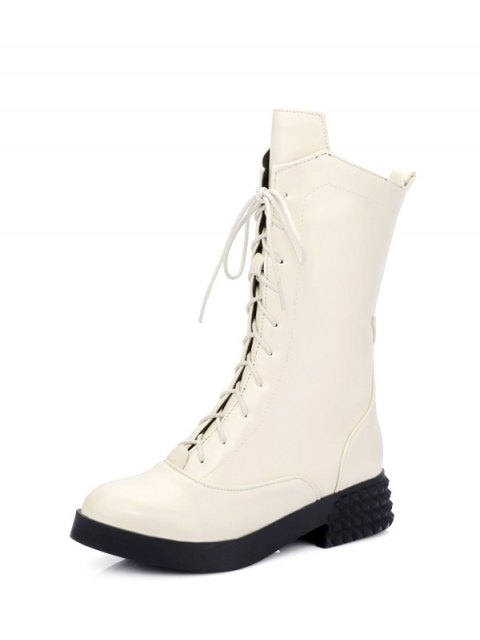 trendy Chunky Heel Platform Tie Up Mid-Calf Boots - GLITTER CREAMY WHITE 39 Mobile
