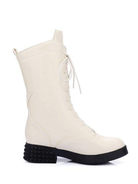 fashion Chunky Heel Platform Tie Up Mid-Calf Boots - GLITTER CREAMY WHITE 37 Mobile