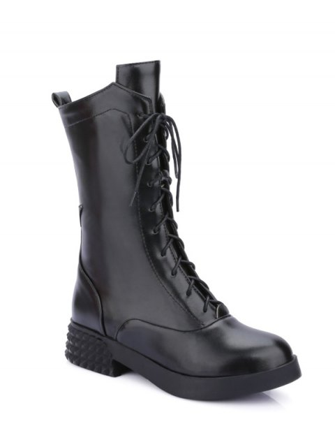 unique Chunky Heel Platform Tie Up Mid-Calf Boots - BLACK 37 Mobile