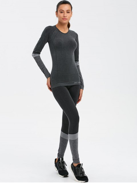 trendy Slim Fit T-Shirt and Yoga Leggings - DEEP GRAY M Mobile