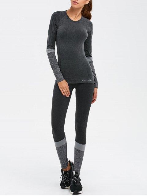 trendy Slim Fit T-Shirt and Yoga Leggings - DEEP GRAY M Mobile