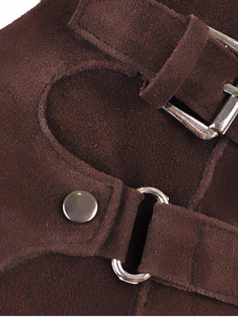 buy Metal Zipper Knee Double Buckle High Boots - DEEP BROWN 37 Mobile