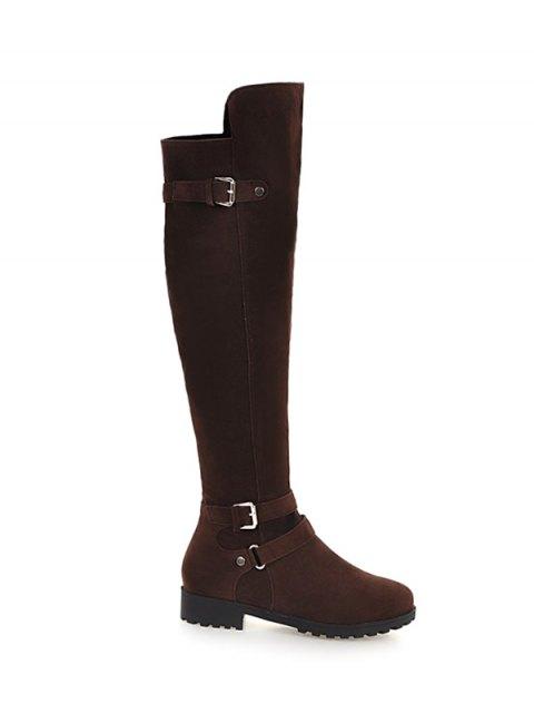 womens Metal Zipper Knee Double Buckle High Boots - DEEP BROWN 38 Mobile
