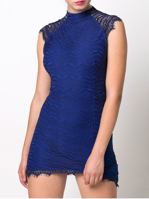 outfit Asymmetric Lace Mini Dress - BLUE S Mobile