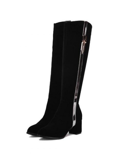 lady Zip Chunky Heel Metal Knee High Boots - BLACK 39 Mobile