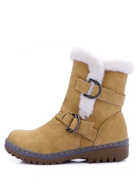 hot Wrinkled Metal Flat Heel Short Boots - EARTHY 37 Mobile