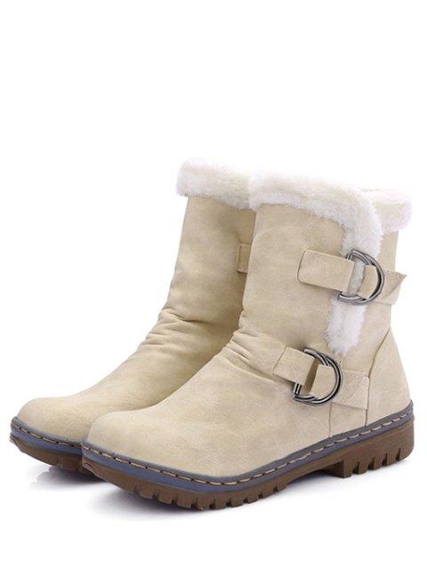 latest Wrinkled Metal Flat Heel Short Boots - GLITTER CREAMY WHITE 39 Mobile
