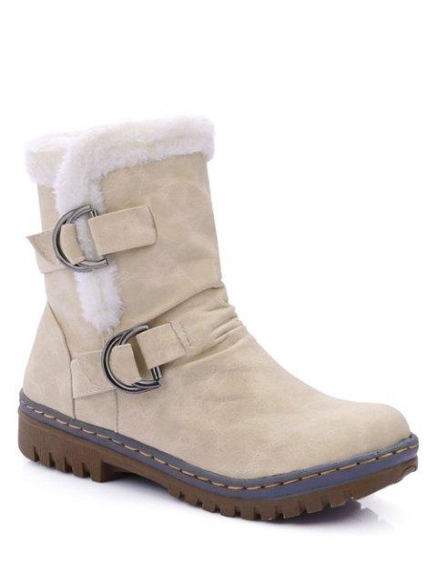 fashion Wrinkled Metal Flat Heel Short Boots - GLITTER CREAMY WHITE 38 Mobile