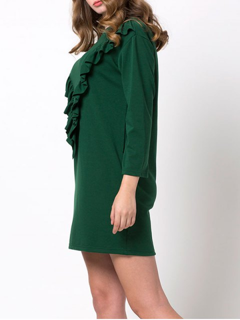 trendy Ruffles Long Sleeve Mini Dress - GREEN S Mobile