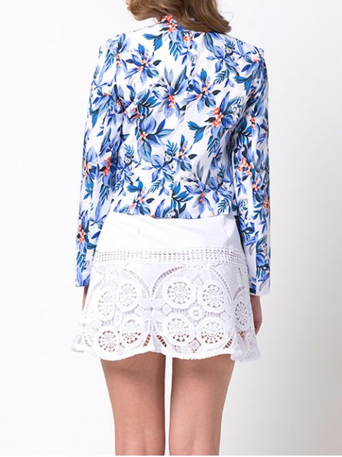 women Open Front Floral Blazer - BLUE S Mobile