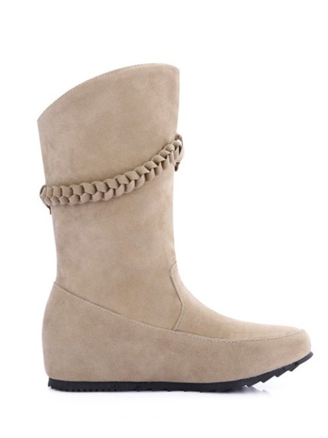 affordable Tassels Weave Hidden Wedge Mid Calf Boots - APRICOT 37 Mobile