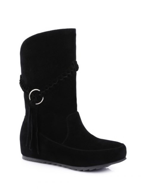 best Tassels Weave Hidden Wedge Mid Calf Boots - BLACK 38 Mobile
