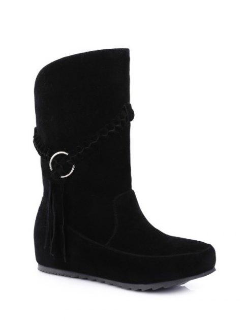 ladies Tassels Weave Hidden Wedge Mid Calf Boots - BLACK 39 Mobile