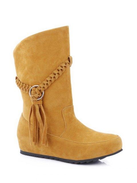 hot Tassels Weave Hidden Wedge Mid Calf Boots - DEEP YELLOW 38 Mobile