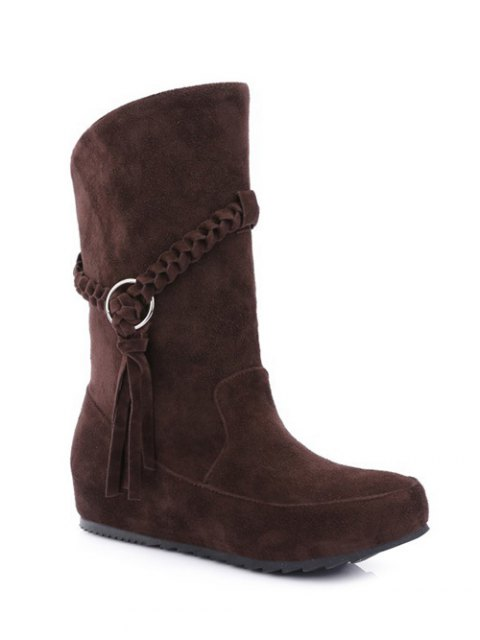outfit Tassels Weave Hidden Wedge Mid Calf Boots - DEEP BROWN 39 Mobile