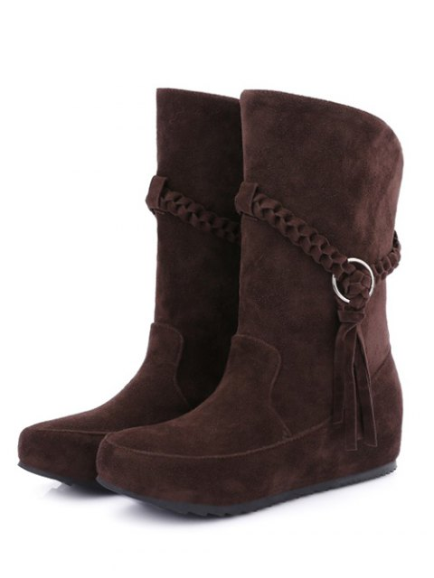 shop Tassels Weave Hidden Wedge Mid Calf Boots - DEEP BROWN 38 Mobile