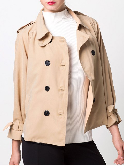 shop Double-Breasted Duster Jacket - KHAKI S Mobile