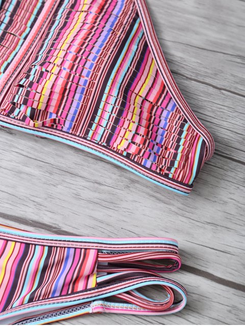 affordable High Neck Striped Split Bikini - MULTICOLOR S Mobile