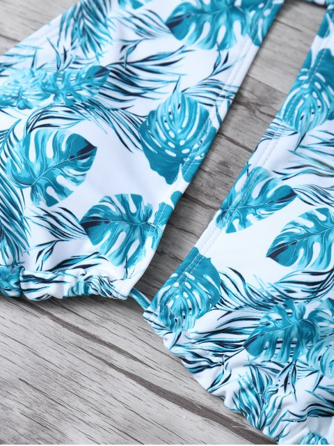 buy Leaf Print High Neck Keyhole Bikini - BLUE AND WHITE XL Mobile