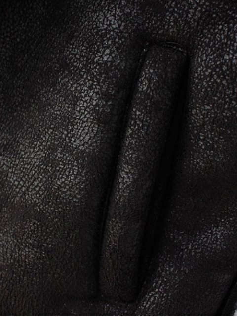 new Detachable Fur Collar Suede Waistcost - BLACK XL Mobile